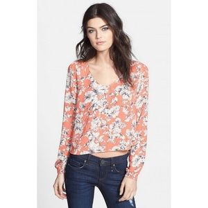 Astr Coral Long Sleeve Flower Printed Blouse